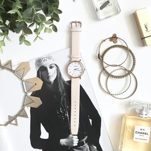 Nude Leather Strap Watch w/ Rose Gold Trim